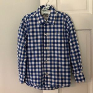 Mini Boden Blue and White Checkered Button Down